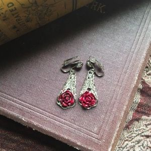 Handmade Rose and Filigree Clip on earrings